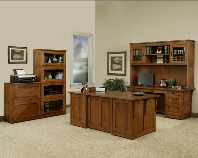 Solid Oak Furniture office Credenza desk bookcases, files portland