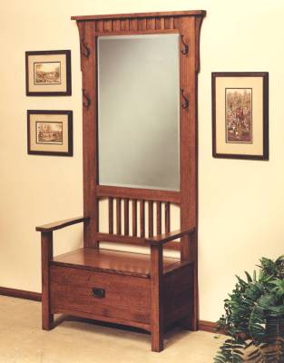 Hall Tree Office Entry with storage solid oak furniture