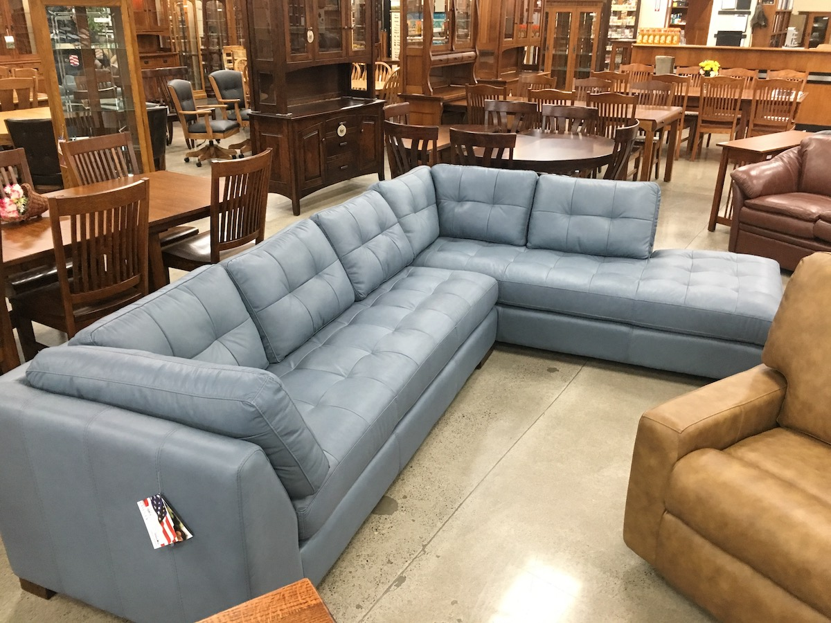 Modern Leather Furniture grade 5 glove soft sectional, popular style and design at USA Furntiure Leather