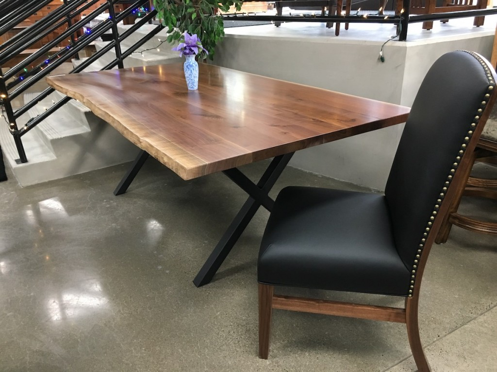 live edge tables are a hit, amish built solid rustic walnut, traditions, benchmark work USA Furniture