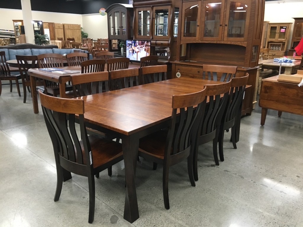 twist leg dining table amish traditions, ethen allen, key home furniture