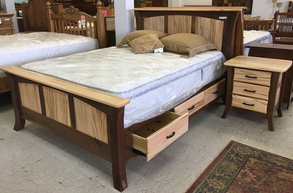 Amish Bed Walnut and Maple Wormy