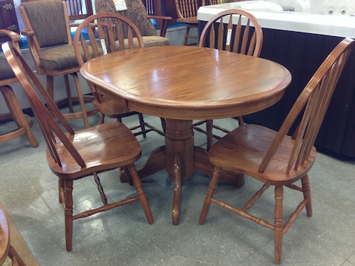 solid oak table and achirs