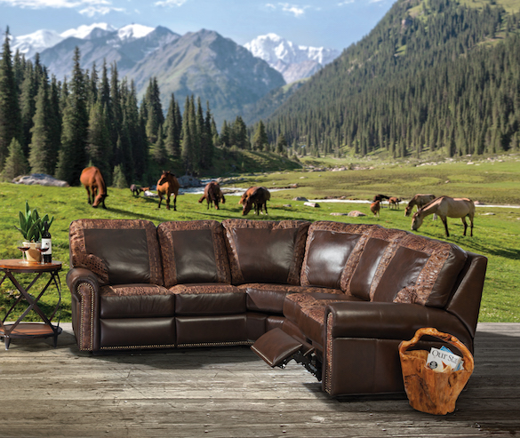 Leather USA sofa sectional with power top grain american