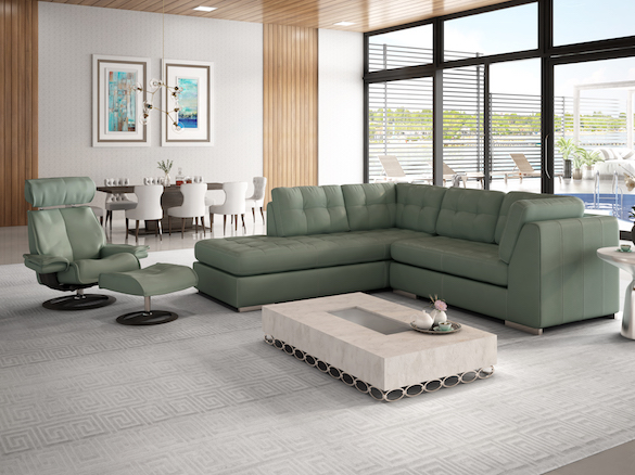 Leather sectional sofa and ergo chair and ottoman make in the USA