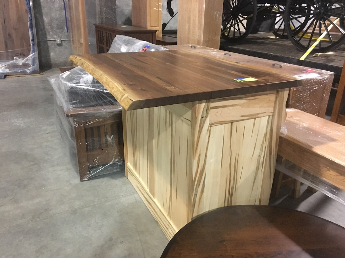 Live Edge Rustic Walnut Bar and hidden Table Amish made, USA made
