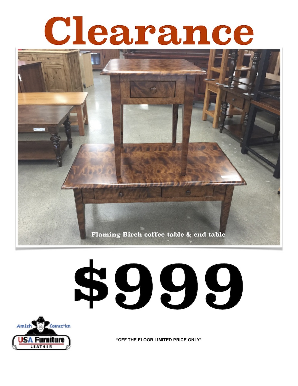 Amish Flaming Birch Tables