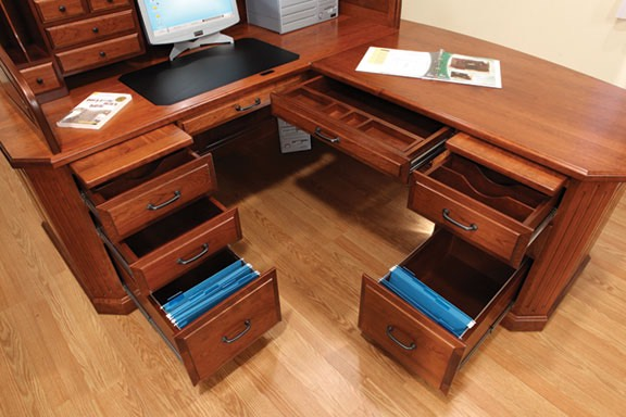 Amish L Desk Maple Solid
