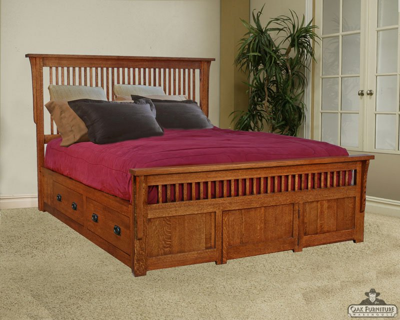 Mission Bed Portland Furniture pedistail