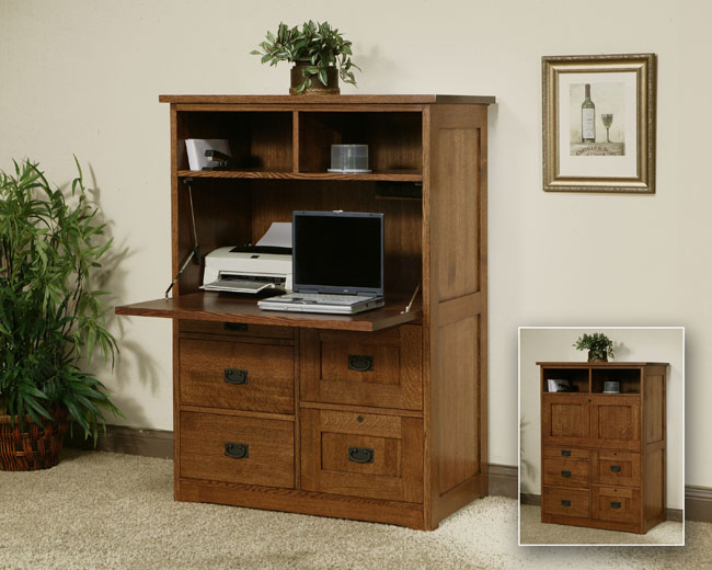 Office Armoire solid oak furniture portland