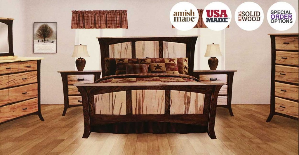 Amish Bedroom two tone walnut wormy maple