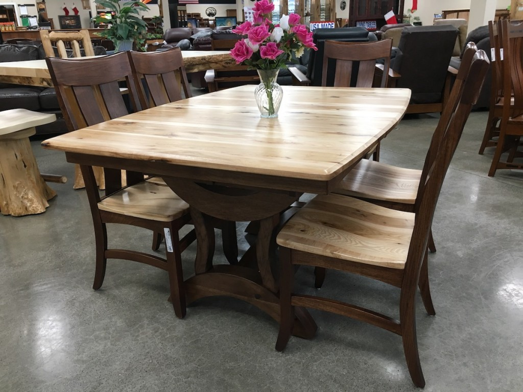 Rustic hickory with deluxe two tone chairs amish traditions, benchcraft, broadway furniture