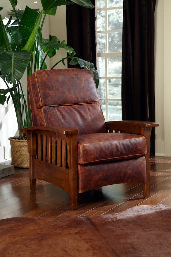 Omnia Leather Morris Chair USA made mission