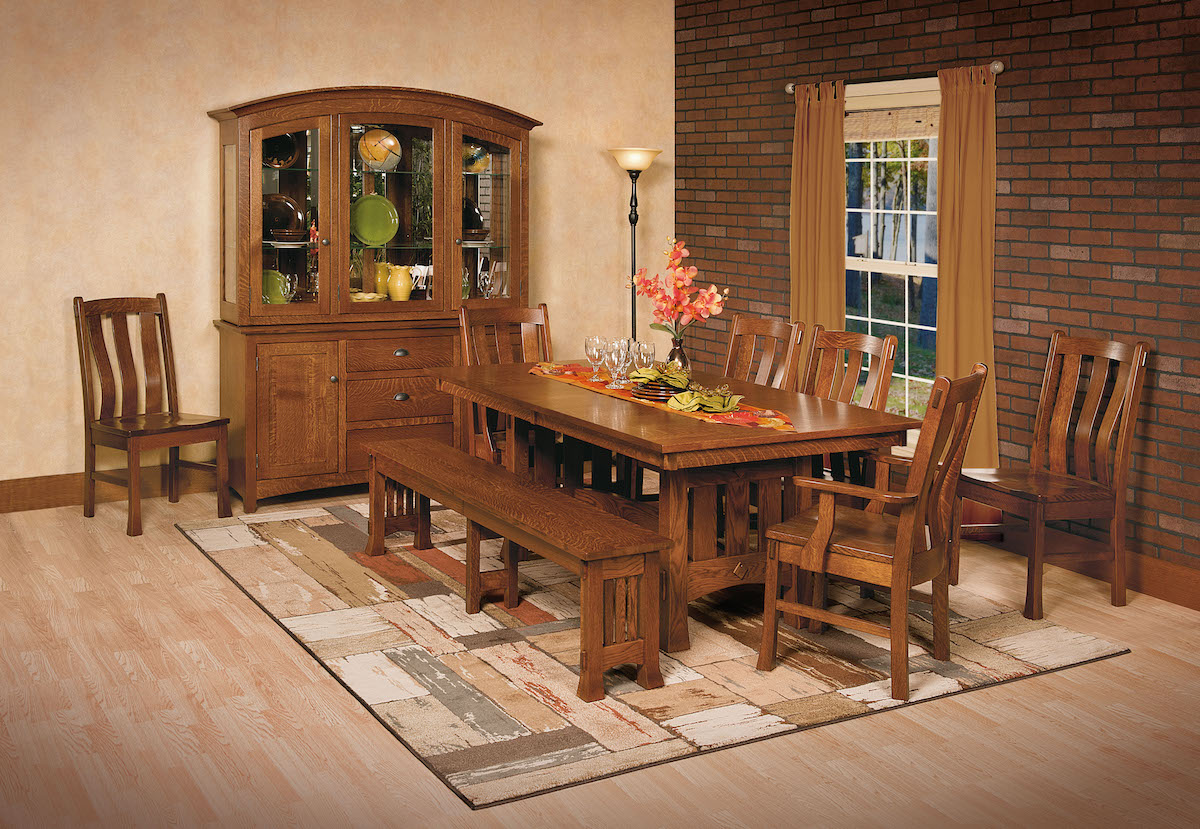 Quarter Sawn Whit Oak Amish Dining Set