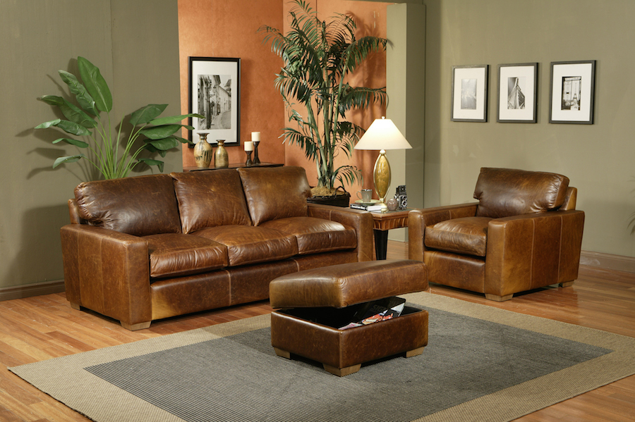 USA Made Leather sofa attoman chair Omnia