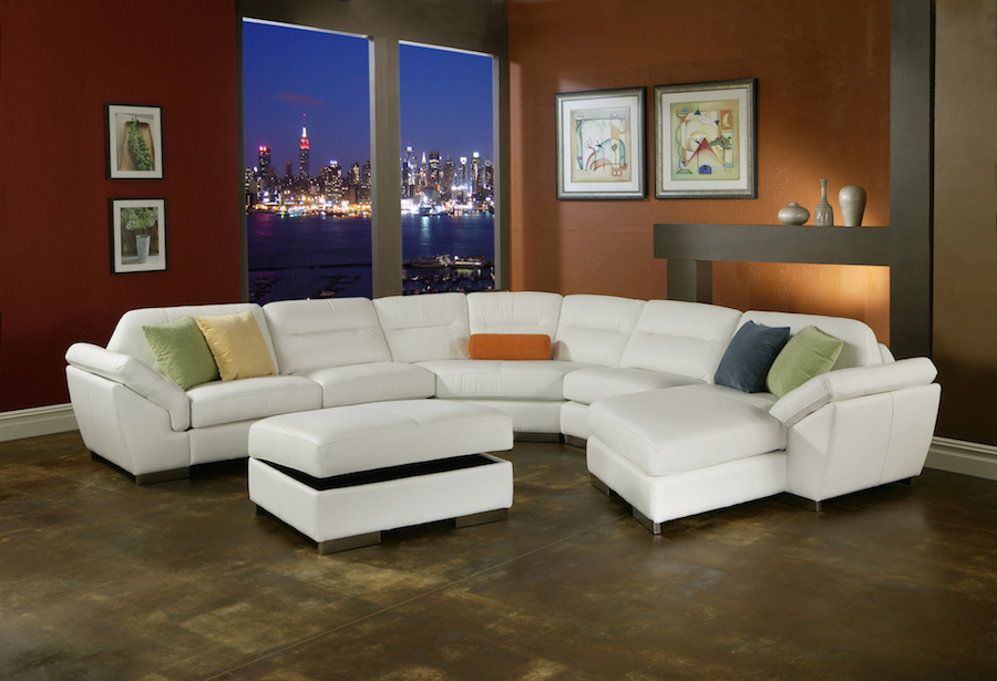 USA Made modern Leather Storage Sectional by Oregons dealer in Omnia Leather
