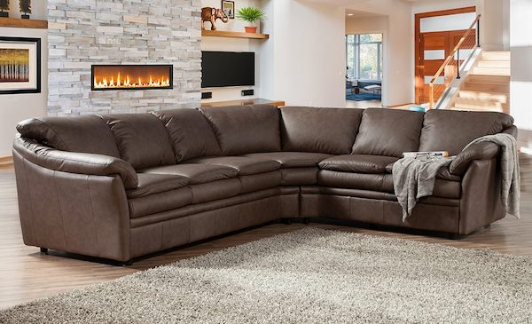 Leather pillow top american made sectional